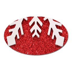 Macro Photo Of Snowflake On Red Glittery Paper Oval Magnet by Nexatart