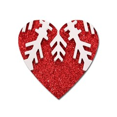Macro Photo Of Snowflake On Red Glittery Paper Heart Magnet by Nexatart