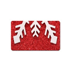 Macro Photo Of Snowflake On Red Glittery Paper Magnet (name Card) by Nexatart