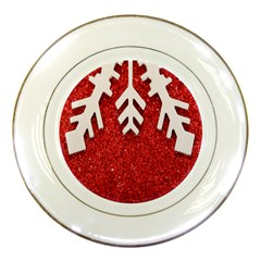 Macro Photo Of Snowflake On Red Glittery Paper Porcelain Plates by Nexatart