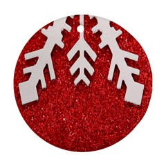 Macro Photo Of Snowflake On Red Glittery Paper Round Ornament (two Sides) by Nexatart