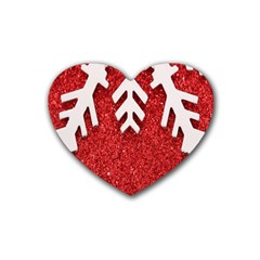Macro Photo Of Snowflake On Red Glittery Paper Heart Coaster (4 Pack)  by Nexatart