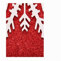 Macro Photo Of Snowflake On Red Glittery Paper Large Garden Flag (two Sides) by Nexatart