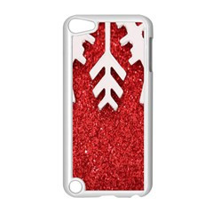 Macro Photo Of Snowflake On Red Glittery Paper Apple Ipod Touch 5 Case (white) by Nexatart