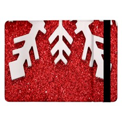 Macro Photo Of Snowflake On Red Glittery Paper Samsung Galaxy Tab Pro 12.2  Flip Case by Nexatart