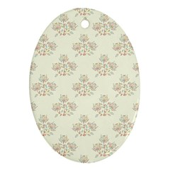 Seamless Floral Pattern Oval Ornament (two Sides) by TastefulDesigns