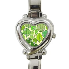 Leaves Pattern Design Heart Italian Charm Watch by TastefulDesigns