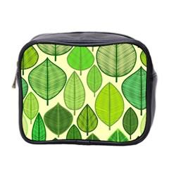 Leaves Pattern Design Mini Toiletries Bag 2 Side by TastefulDesigns