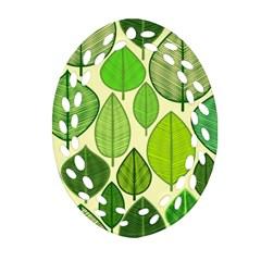 Leaves Pattern Design Oval Filigree Ornament (two Sides) by TastefulDesigns