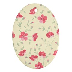Seamless Flower Pattern Oval Ornament (two Sides) by TastefulDesigns