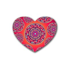Pretty Floral Geometric Pattern Rubber Coaster (heart)  by LovelyDesigns4U