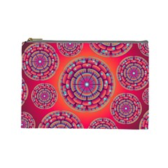 Pretty Floral Geometric Pattern Cosmetic Bag (large)  by LovelyDesigns4U
