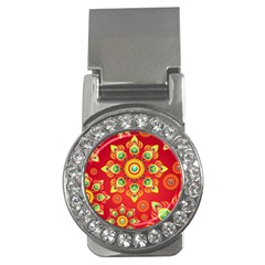 Red And Orange Floral Geometric Pattern Money Clips (cz)  by LovelyDesigns4U