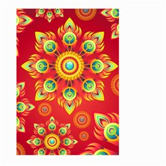 Red And Orange Floral Geometric Pattern Large Garden Flag (two Sides) by LovelyDesigns4U