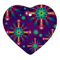 Purple And Green Floral Geometric Pattern Ornament (heart) by LovelyDesigns4U