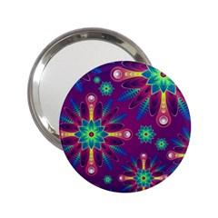 Purple And Green Floral Geometric Pattern 2 25  Handbag Mirrors by LovelyDesigns4U