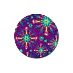 Purple And Green Floral Geometric Pattern Magnet 3  (round) by LovelyDesigns4U