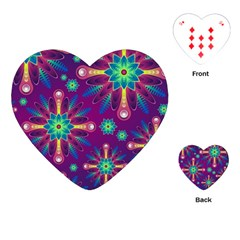Purple And Green Floral Geometric Pattern Playing Cards (heart)  by LovelyDesigns4U