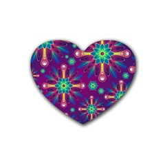 Purple And Green Floral Geometric Pattern Rubber Coaster (heart)  by LovelyDesigns4U