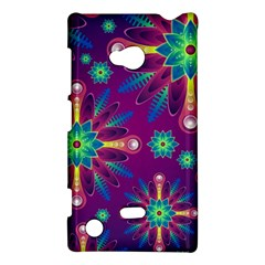 Purple And Green Floral Geometric Pattern Nokia Lumia 720 by LovelyDesigns4U