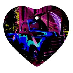 Abstract Artwork Of A Old Truck Ornament (heart) by Nexatart