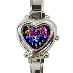 Abstract Artwork Of A Old Truck Heart Italian Charm Watch by Nexatart