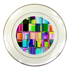 Glitch Art Abstract Porcelain Plates by Nexatart