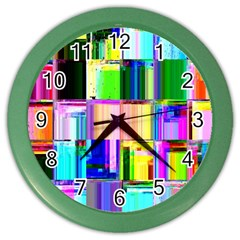Glitch Art Abstract Color Wall Clocks by Nexatart