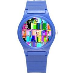Glitch Art Abstract Round Plastic Sport Watch (s) by Nexatart