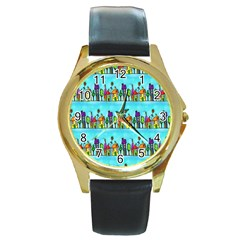Colourful Street A Completely Seamless Tile Able Design Round Gold Metal Watch by Nexatart