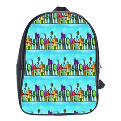 Colourful Street A Completely Seamless Tile Able Design School Bags(large)  by Nexatart