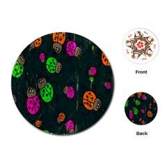 Cartoon Grunge Beetle Wallpaper Background Playing Cards (round)  by Nexatart