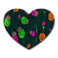 Cartoon Grunge Beetle Wallpaper Background Heart Mousepads by Nexatart