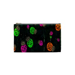 Cartoon Grunge Beetle Wallpaper Background Cosmetic Bag (small)  by Nexatart
