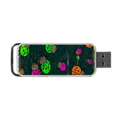 Cartoon Grunge Beetle Wallpaper Background Portable Usb Flash (two Sides) by Nexatart