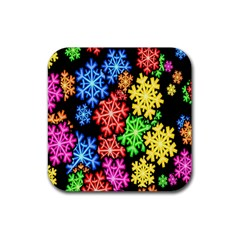 Colourful Snowflake Wallpaper Pattern Rubber Square Coaster (4 Pack)  by Nexatart