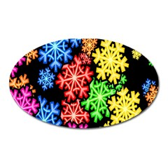 Colourful Snowflake Wallpaper Pattern Oval Magnet by Nexatart