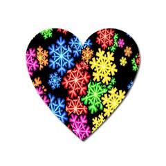 Colourful Snowflake Wallpaper Pattern Heart Magnet by Nexatart