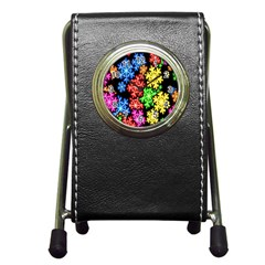 Colourful Snowflake Wallpaper Pattern Pen Holder Desk Clocks by Nexatart