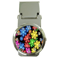 Colourful Snowflake Wallpaper Pattern Money Clip Watches by Nexatart