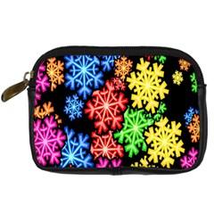Colourful Snowflake Wallpaper Pattern Digital Camera Cases by Nexatart