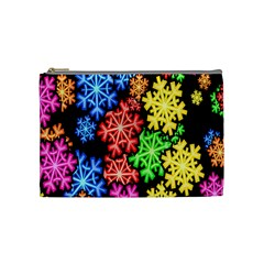 Colourful Snowflake Wallpaper Pattern Cosmetic Bag (medium)  by Nexatart