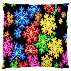 Colourful Snowflake Wallpaper Pattern Large Cushion Case (one Side) by Nexatart