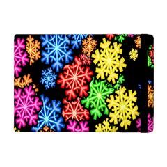 Colourful Snowflake Wallpaper Pattern Apple Ipad Mini Flip Case by Nexatart