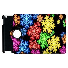 Colourful Snowflake Wallpaper Pattern Apple Ipad 2 Flip 360 Case by Nexatart
