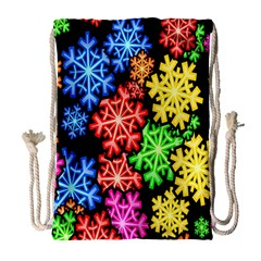 Colourful Snowflake Wallpaper Pattern Drawstring Bag (large) by Nexatart