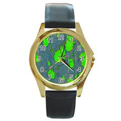 Cartoon Grunge Frog Wallpaper Background Round Gold Metal Watch by Nexatart