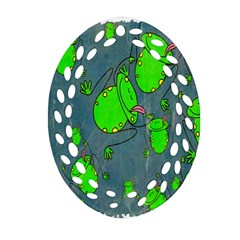 Cartoon Grunge Frog Wallpaper Background Oval Filigree Ornament (two Sides) by Nexatart