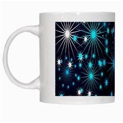 Digitally Created Snowflake Pattern Background White Mugs by Nexatart