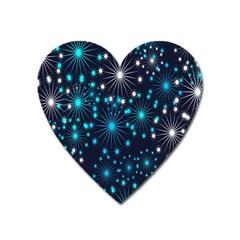 Digitally Created Snowflake Pattern Background Heart Magnet by Nexatart